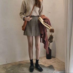 NWT ✨ Camel Plaid A-Line Skirt